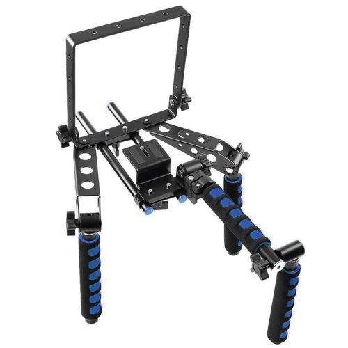 Foldable Aluminium Alloy Shoulder Mount Support Rig Stabilizer 1/4 Screw with Camera Bracket Kit Filming Equipment for Canon Nikon Lumix Sony Pentax Olympus DSLR Camera Camcorder