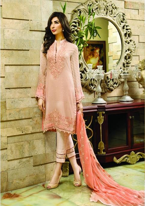 Shirt: Fabric: Embroidered Chiffon Shirt with Sleeves Shalwar/Trousers: Fabric: Silk Trouser. Dupatta: Fabric: Embroidered Chiffon Dupatta