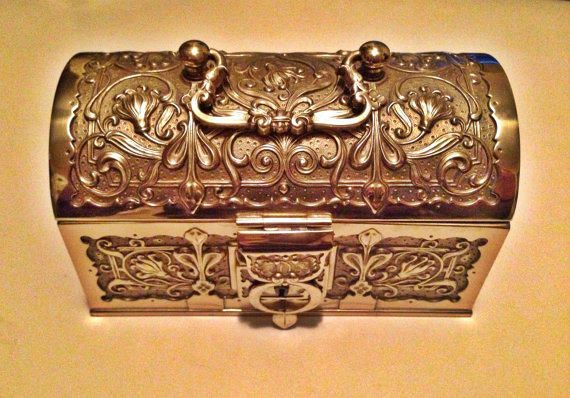 Antique Austrian Brass Treasure Chest Gold Ornate Jewelry Trinket Box Purse w/ Lock & Key