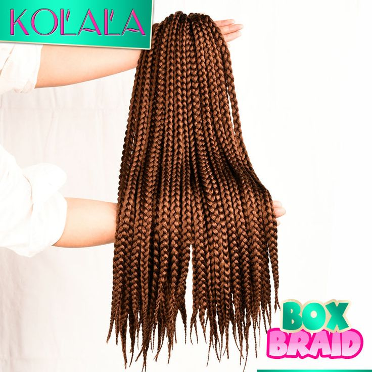 "Crochet Box Braids Hair Brown Synthetic Braiding extensions Crochet medium 3S box braids hair Crotchet 12"" 18"" 22"" inch 12 Roots"