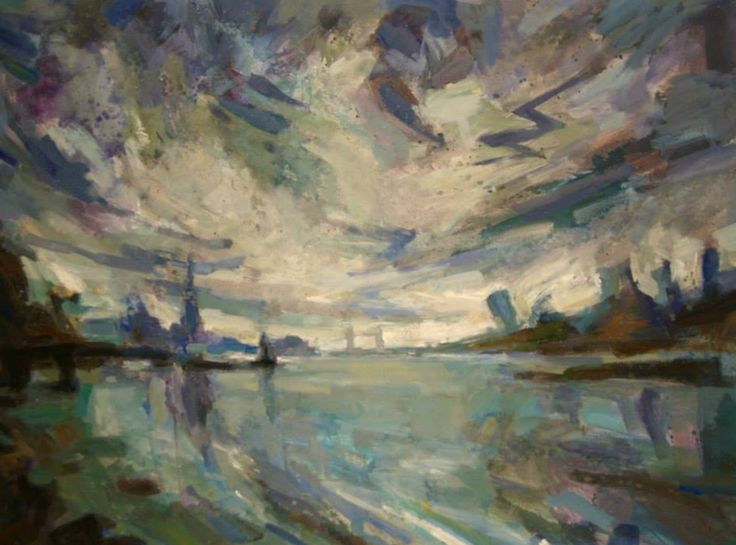 Simon Mills, The Thames at Bermonsey