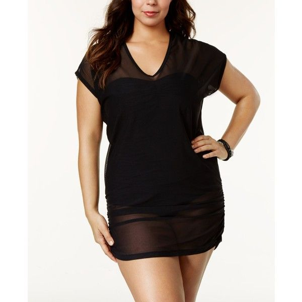 Anne Cole Plus Size Mesh V-Neck Cover-Up ($40) ❤ liked on Polyvore featuring swimwear, cover-ups, black, plus size swim cover up, mesh swim cover up, mesh cover ups, anne cole swimwear and v neck cover up
