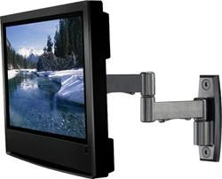 Articulating mount — The most sophisticated, versatile type of mount. It provides the greatest tilt/swivel flexibility. The arm folds back so the TV can be close to the wall when not in use. Because this type can move the TV several inches out from the wall, it allows a wider range of side-to-side swivel.