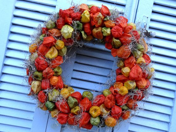 "15"" HALLOWEEN WREATH - Dried Orange Chinese Lantern Wreath - Fall Decoration - Physalis Wreath - Hanging Wreath"