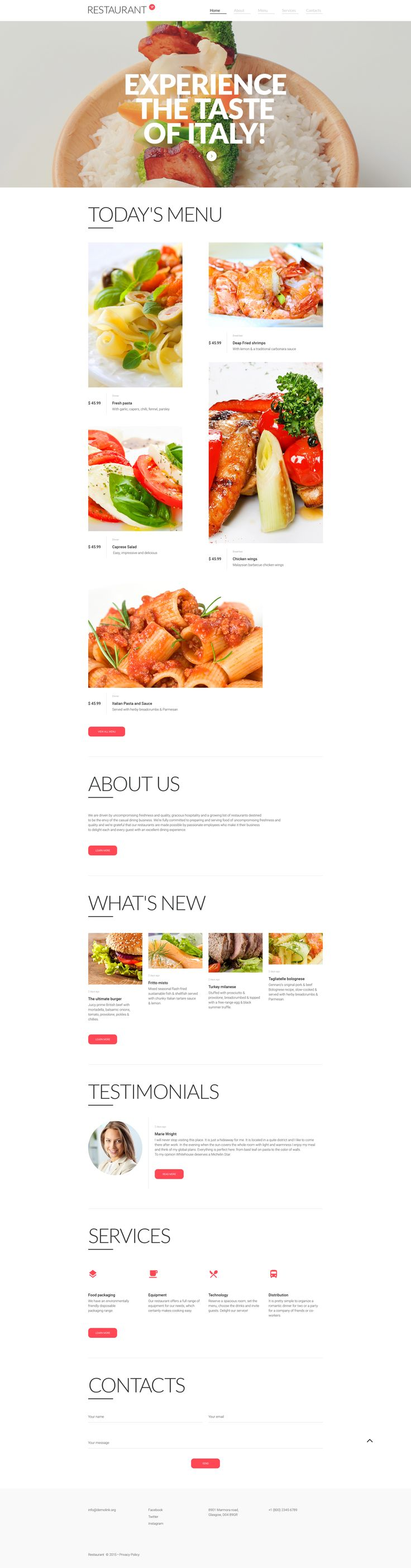 Cafe and Restaurant Responsive Website Template #58129