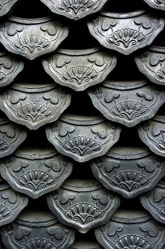 Roof tiles in Insadong, Seoul, South Korea. Photograph by Jon Hill.