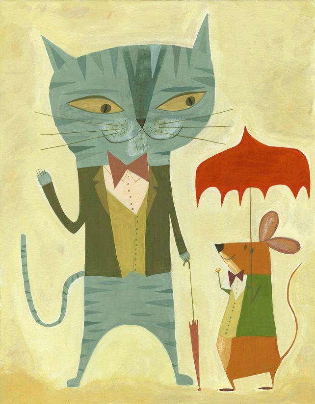 Simon Meets a Friend for Lunch ~ Gouache Painting ~ Matte Stephens