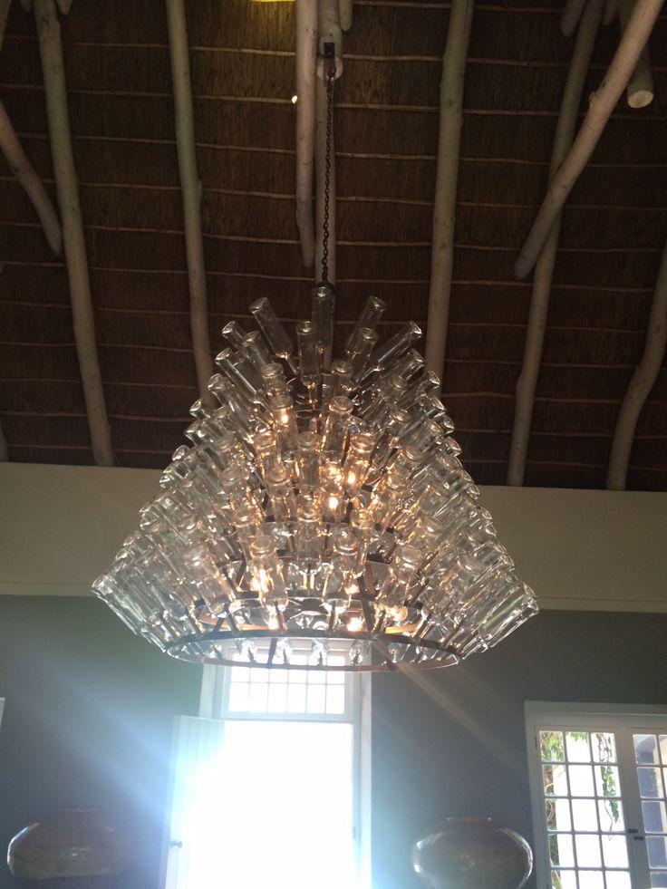 Wine bottle chandelier, Franschoek