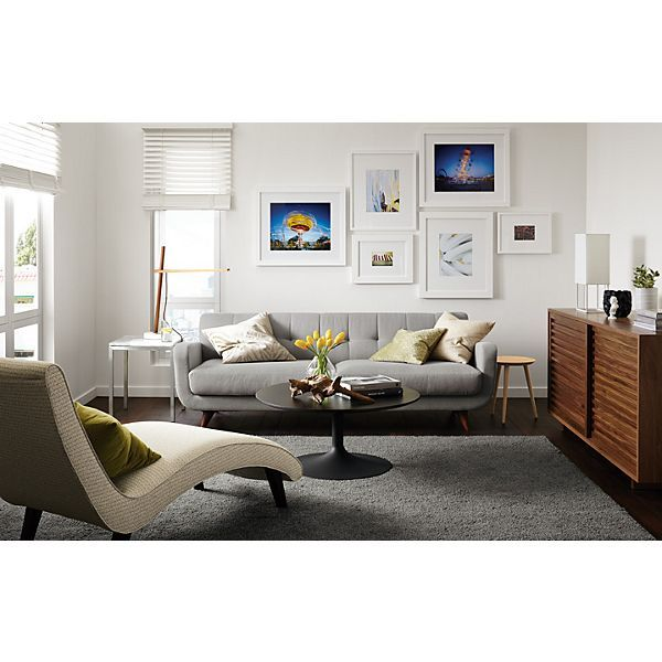 Room U0026 Board   Anson Sofa A Chaise Is A Super Cool Idea In Your Lr Anne!  Small Couch, Lounger And 2 Cool Ottomans Tucked Under A Console Add  Versatility To ...