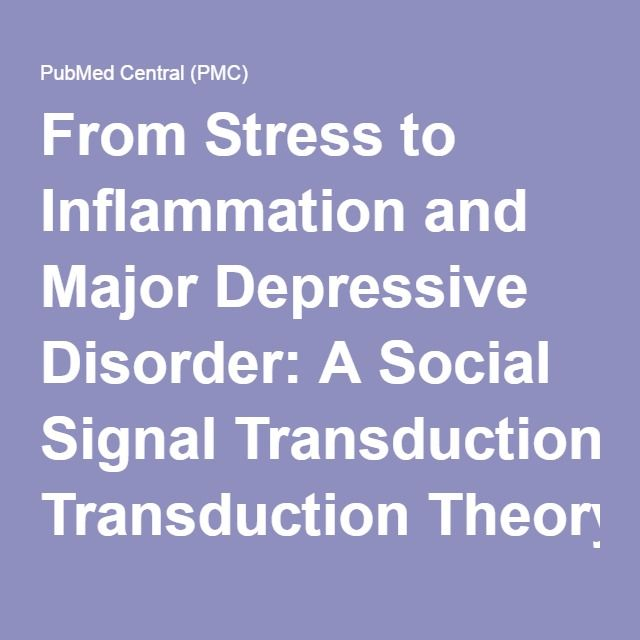 From Stress to Inflammation and Major Depressive Disorder: A Social Signal Transduction Theory of Depression