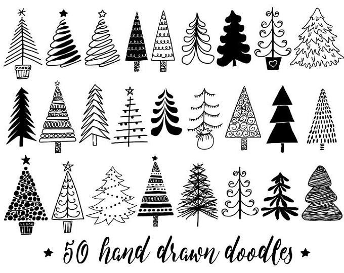 Chalkboard Christmas Tree Clip Art Hand Drawn Chalk Christmas Illustrations White Doodle Winter Clipart For Gift Tags Diy Greeting Cards In 2020 Christmas Tree Clipart Tree Doodle Christmas Doodles
