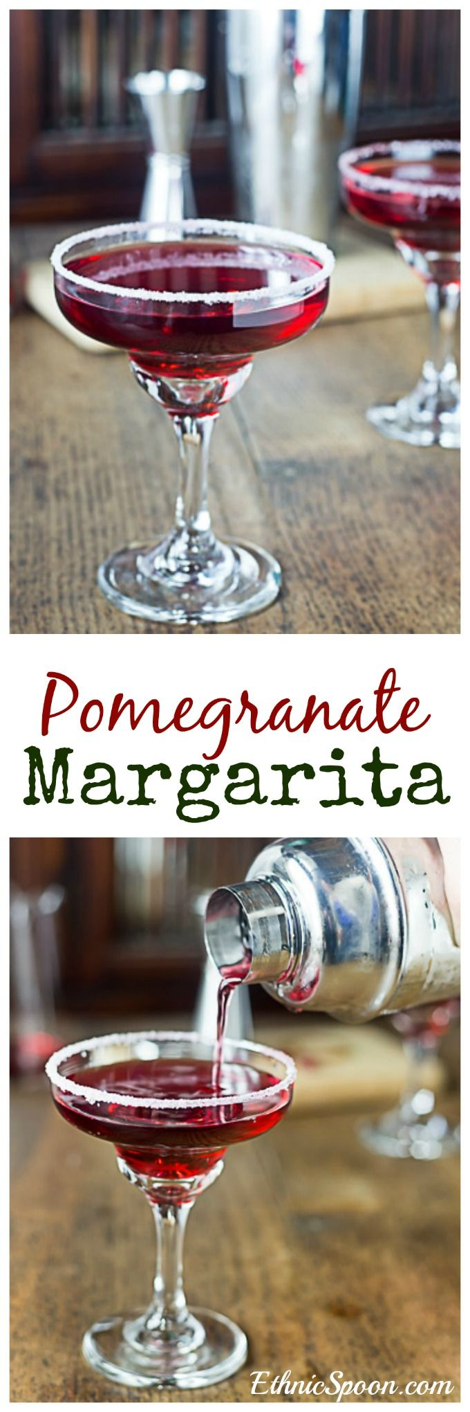 Shake up a pomegranate margarita! Sweet, tangy, light and refreshing pomegranate margarita with a sugar rimmed glass adds a nice contrast of flavors. | ethnicspoon.com