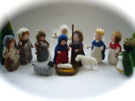 Wet  felted  Nativity Set. Waldorf .12 by FilzArts on Etsy