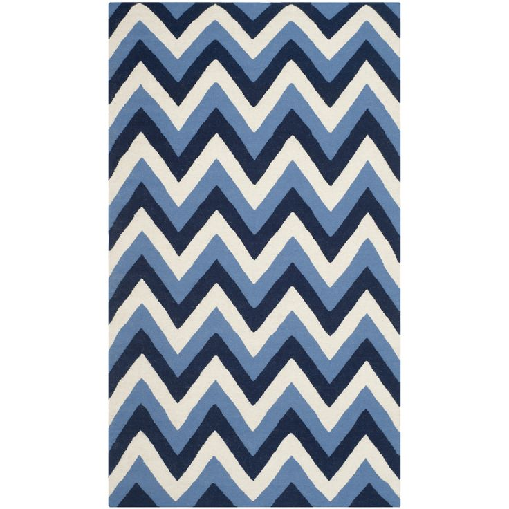 Attractive Safavieh Dhurries Navy / Light Blue Chevron Area Rug