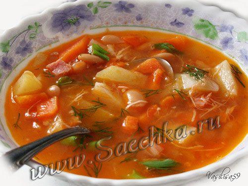 Фото к рецепту: Суп фасолевый томатный в скороварке