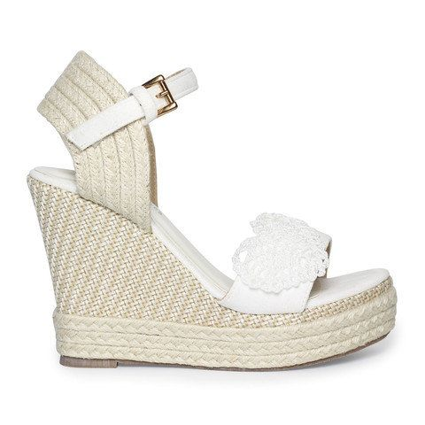 Espadrille White Wedge Heeled Sandals Boho style by ForeverSoles