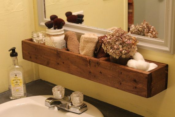 Reclaimed Wood Hanging Bathroom Shelf Wood Bathroom Organizer Over Sink Organizer Wood Crate