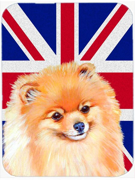 Pomeranian with English Union Jack British Flag Mouse Pad - Hot Pad or Trivet LH9498MP #artwork #artworks