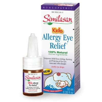 Similasan Kids Allergy Eye Relief - .33 oz Retail Price: $12.89 You save: 7% Our Price: $11.99 Give your kids soothing relief with Similasan's Kids Irritated Eye Relief multi-symptom sterile eye drops. Kids Irritated Eye Relief stimulates their body's natural ability to temporarily relieve redness, burning, dryness, stinging, grittinessm and watering of their eyes due to environmental pollutants or exposure to wind or sun.