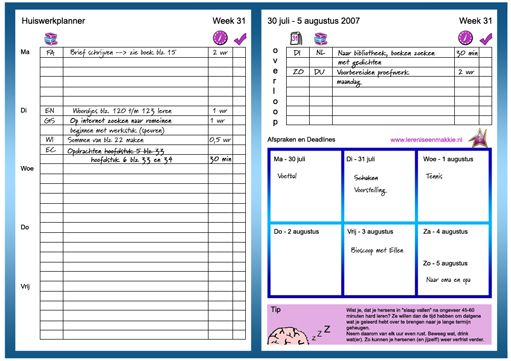 Hieronder vind je uitleg over de papieren planner, maar we hebben ook een digitale planner! Klik in het rechtermenu op 'registreer je nu' als je deze wilt gebruiken. De lereniseenmakkie planner kun je gebruiken bij het plannen van je huiswerk. Op de laatste pagina vind je de planner om zelf af te drukken en te gebruiken! Nu leggen we je eerst uit hoe deze planner werkt.
