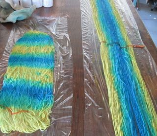Painted weft (left) and warp.  Fold up plastic and steam.