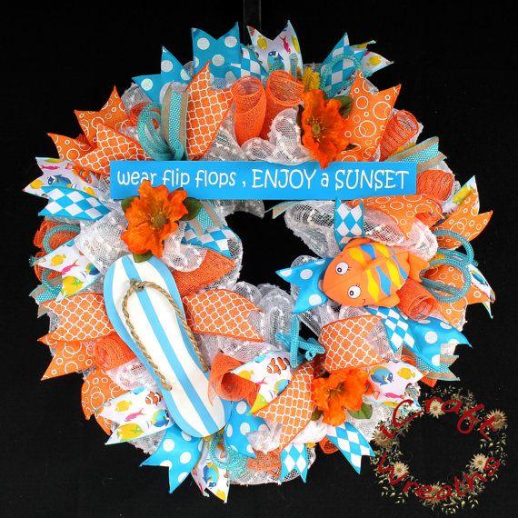 Summer Mesh Wreath Mesh Wreath Flipflop Mesh by iCraftWreaths