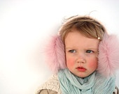 Christmas in July Pink Kids Earmuffs, headpiece, pink ear muffs, children accessory, gift for toddler girl