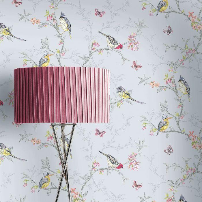 Phoebe Birds Wallpaper Blue World Of Wallpaper 50140 Pink Wallpaper Bird Wallpaper Bird Wallpaper Bedroom