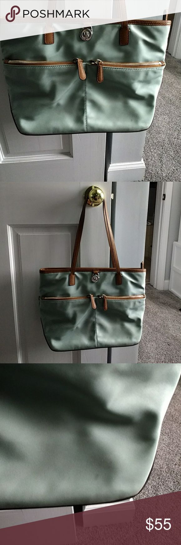 Michael michael Kors, vinyl leather handbag MMK, vinyl, leather trim handbag Celadon color. Two small spots, see pic bottom right front, bottom right back. Very clean inside. See pics of straps on back slight distress, does not compromise. MICHAEL Michael Kors Bags Totes