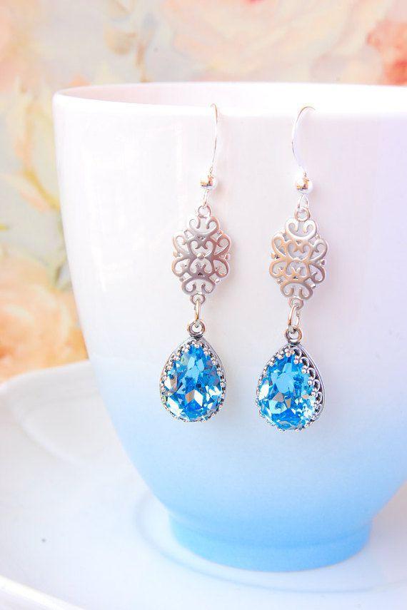 Aquamarine Bridal Earrings Teardrop Swarovski by MelagranaArt