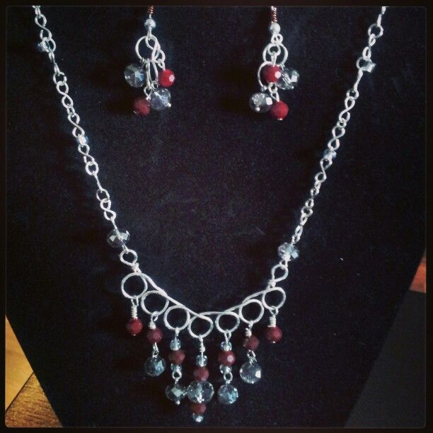 Silver Grey and Red Crystal Necklace