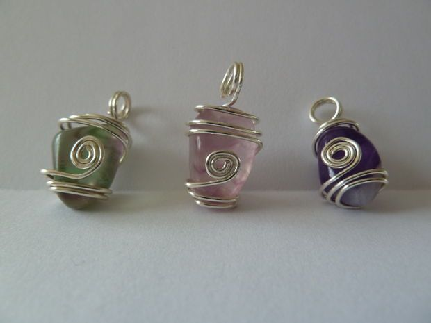 Wire wrapped stone pendants #necklace