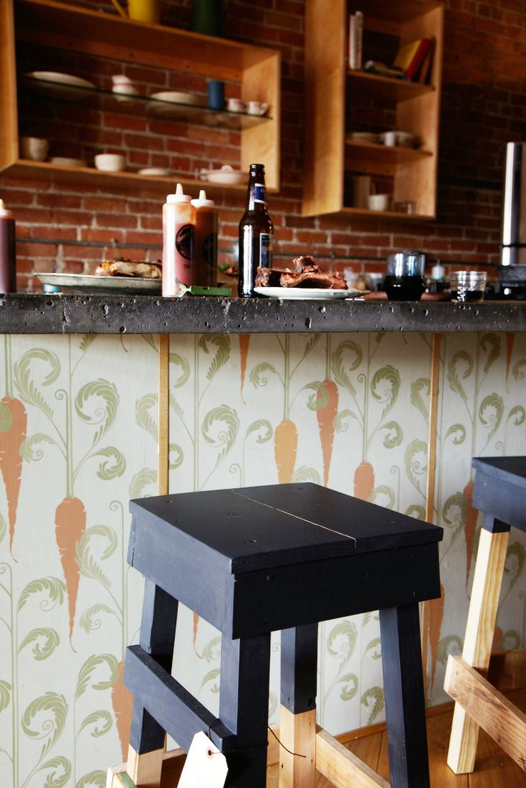 Carrots and painted bar stools