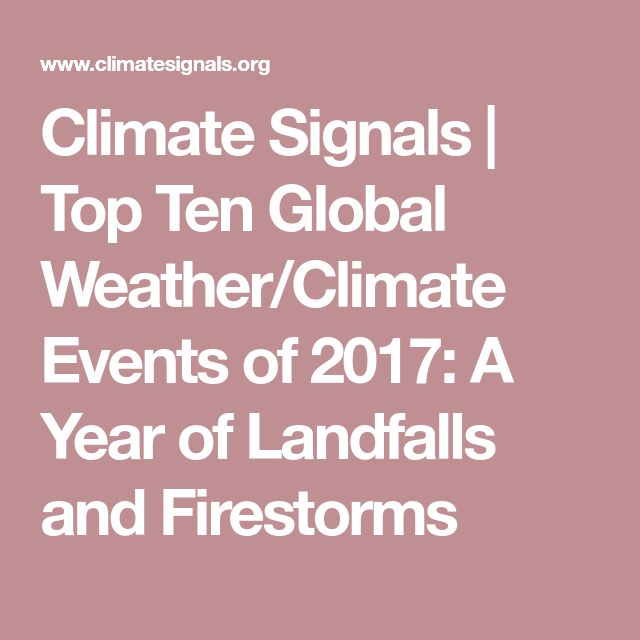 Climate Signals | Top Ten Global Weather/Climate Events of 2017: A Year of Landfalls and Firestorms