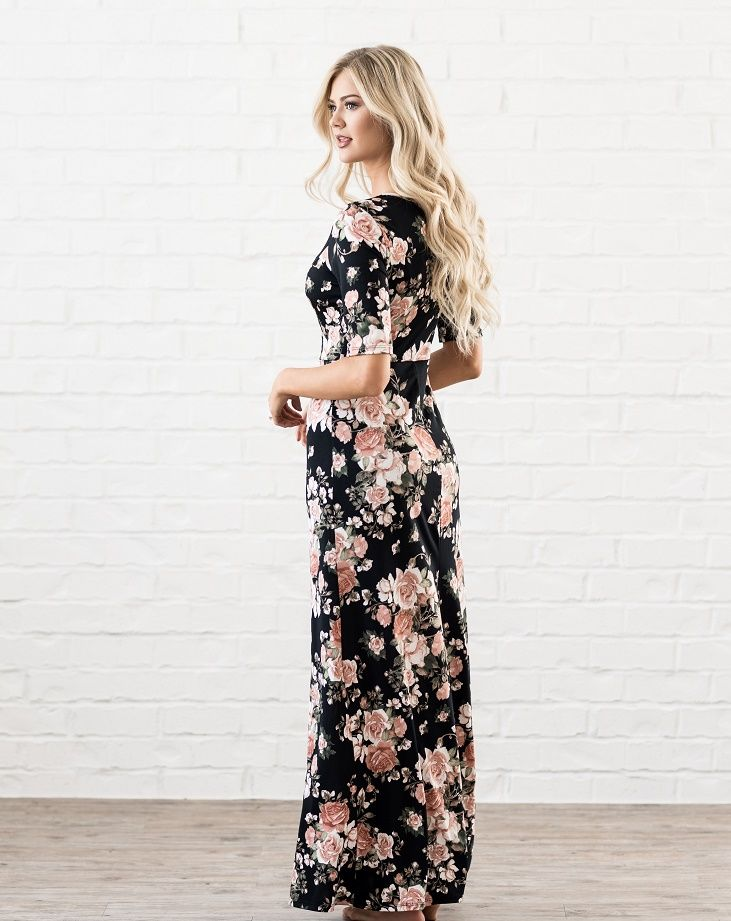 A closer fit than our other maxis, the Michelle in black floral. Find it at Omika, shipping worldwide from Perth Australia.