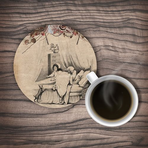 Two Little Girls Playing In The Bed Rubber Coaster