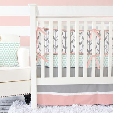 Coral & Mint Arrow Baby Bedding - this is so perfect...Although I know crib bumpers are a no go these days...and I'd rather a crib sheet that matched and had coral/peach triangles