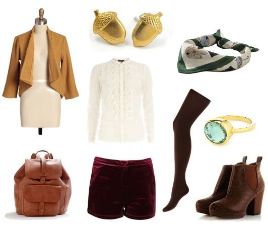 Burgle Bilbo's style with a pair of burgundy velvet dress shorts. A lacy ivory blouse and mustard-hued jacket provide a slightly aristocratic feel without appearing costume-y. Tie on a silk neckerchief and slip on deep brown tights and ankle boots to complete the outfit. A golden gem ring alludes to Bilbo's fateful discovery of the One Ring, while acorn stud earrings resemble the buttons on his waistcoat. Finally, stash all your treasures in a roomy leather knapsack