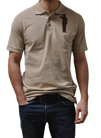 Sand Polo. 100% Organic Cotton. 3 button placket. Bold Embroidery Front & Back.  Model 6' ft, waist 31 wearing Small Bold Polo. Order online: http://www.el-capitano.com/collections/polos/products/sand