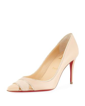 f932915728c7 Biblio+85mm+Piped+Cutout+Red+Sole+Pump+by+Christian+Louboutin +at+Neiman+Marcus.