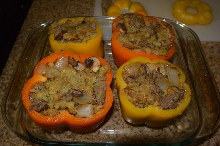 Basically Thanksgiving in Stuffed Peppers #recipes #runfood #stuffedpepper #noms #healthyfood http://bit.ly/RecipeStuffedPeppers