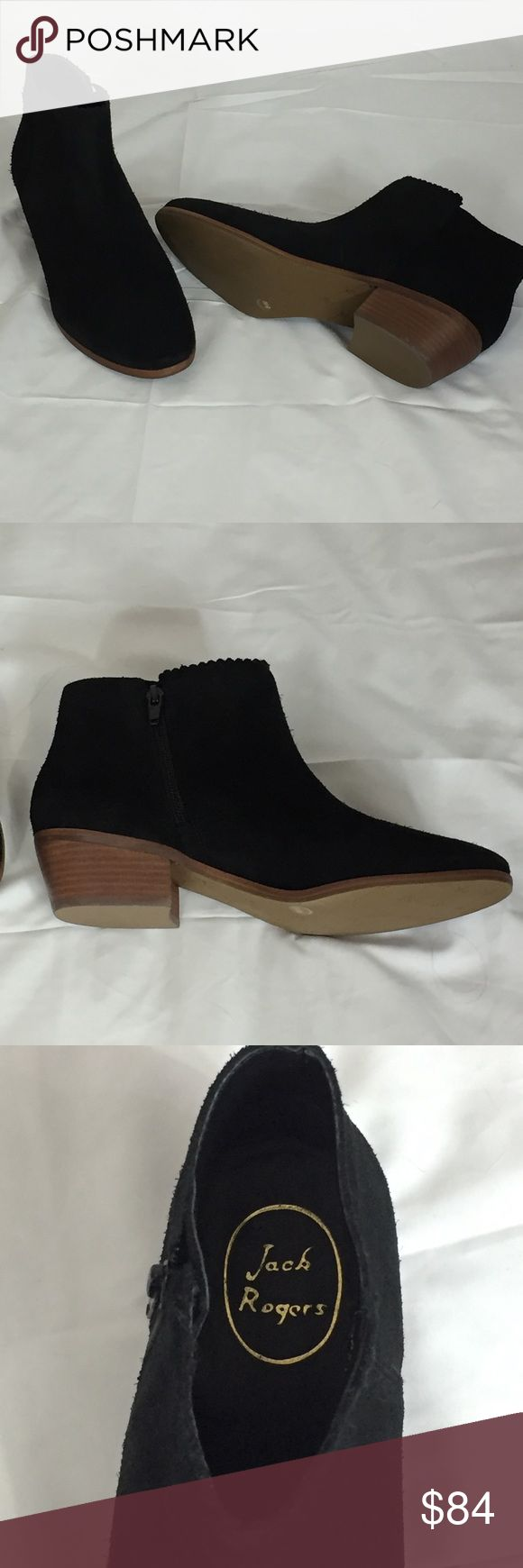 "Jack Rogers Suede Ankle Boots Size 8.5 Black sued with a patterned trim on the front top Inside zipper 1 3/4"" heel NWT but no box Jack Rogers Shoes Ankle Boots & Booties"