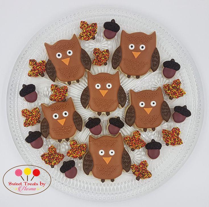 Fall In Love Sugar Cookies Owl Cookies Maple Leaf Cookies Acorn Cookies