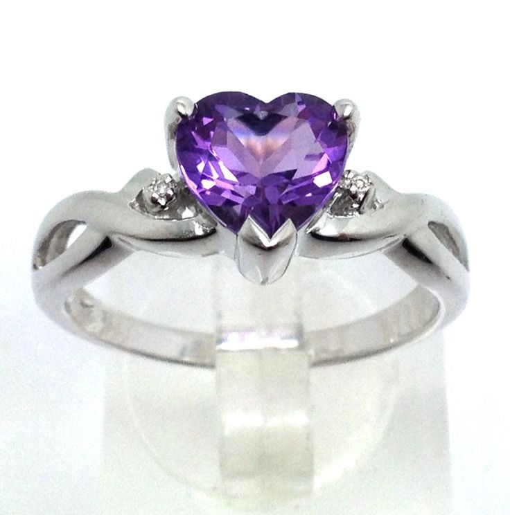 Amethyst gemstone heart shaped faceted solid Sterling Silver ring. A single tiny real diamond accent on each side. UK size R. Actual one shown. Amethyst Stone measures 8mm at widest point. Weight of ring approx 3.0g. | eBay!