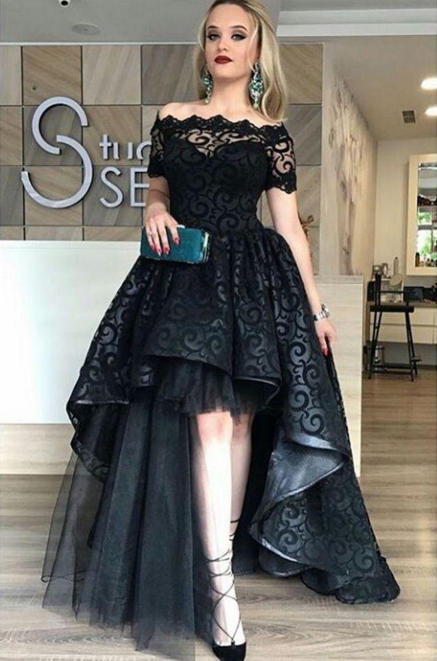 Black Lace Evening Dress Ball Gown Off Shoulder Appliques Short Sleeve Long Party Gowns vestido de festa Cheap High Low Prom Dresses