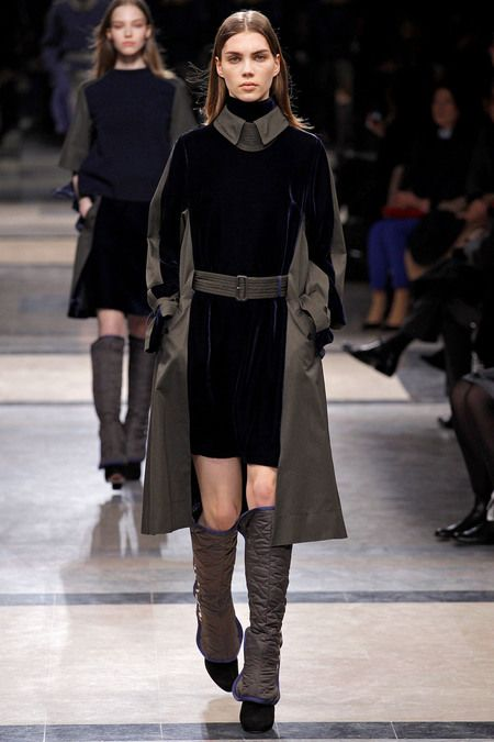 Velvet is just beautiful hands down and that trenchcoat with that high collar simply classy. #PFW#F/W2013#RTW
