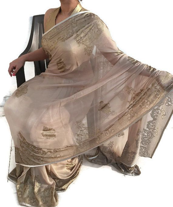Designer Saree Swarovski Sari Bollywood sari bridal sari Indian wedding dress Indian Saree Indian fabric Blouse-IDS07