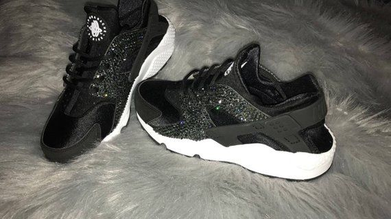 size 40 75027 47081 black nike huaraches with bling Custom nike huaraches   Etsy