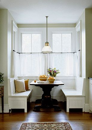 Breakfast nook--love the idea of something like this in the kitchen, when you don't want to use the dining room.