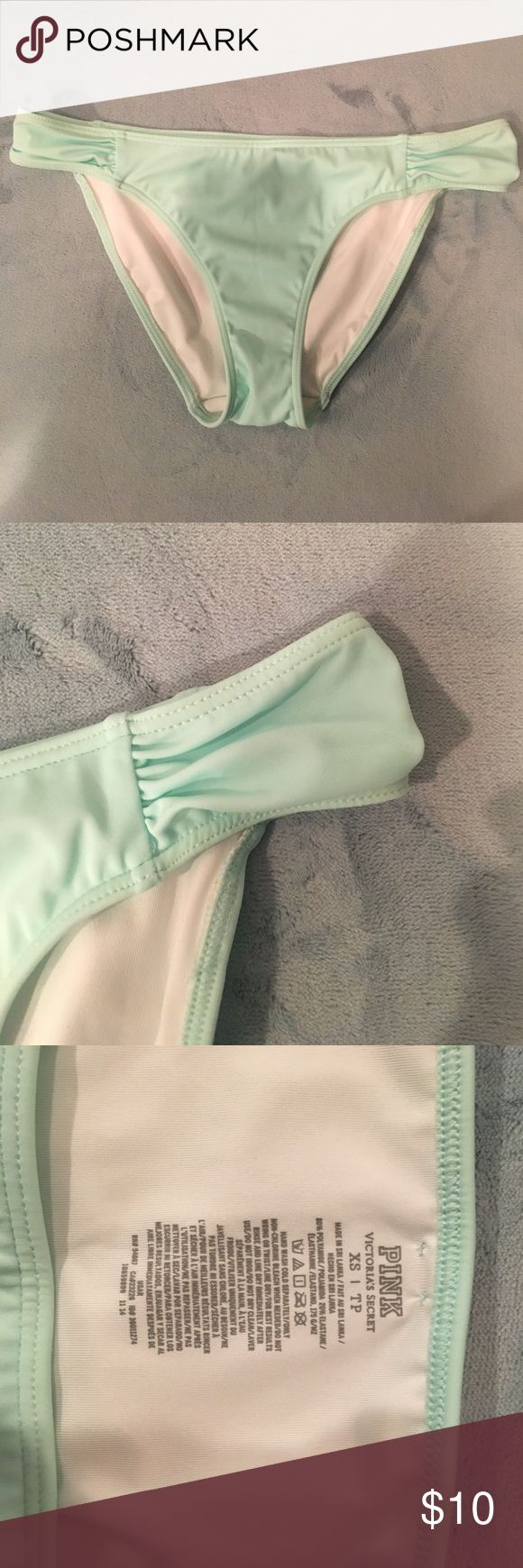 VS PINK Ruched Side Mint Bikini Bottoms Victoria Secret PINK Ruched Side Mint Bikini Bottoms. Great Condition. Offers Welcome. PINK Victoria's Secret Swim Bikinis